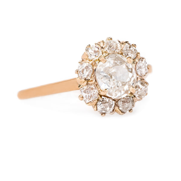 Vintage Rose Gold Old Mine Cut Diamond Halo Ring | Ravenstone from Trumpet & Horn