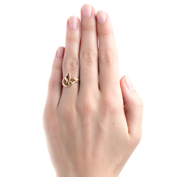 Iconic Victorian Era Snake Ring in Yellow and Rose Gold | Redbridge from Trumpet & Horn