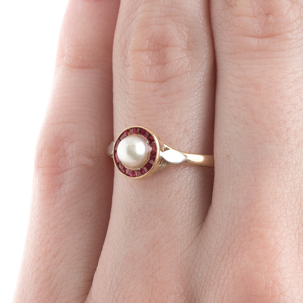 French Pearl Ring with Ruby Accents | Red Roof from Trumpet & Horn
