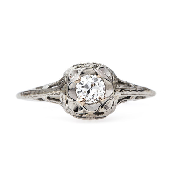 Edwardian Era White Gold Solitaire | Reidsville from Trumpet & Horn