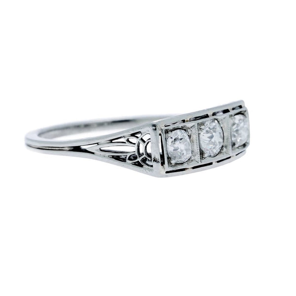 A Tasteful Art Deco White Gold and Diamond Three-Stone Engagement Ring | Ridge Hill