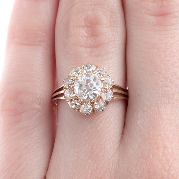 Stunning Victorian Cluster Ring with Unique Triple Shank | Ridgeview from Trumpet & Horn
