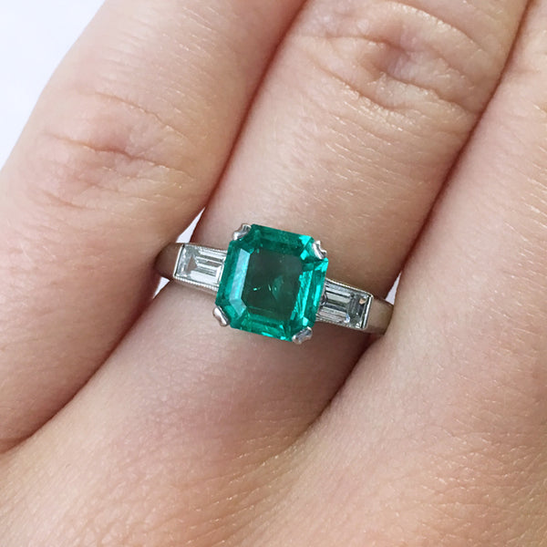 Lovely Mid-Century Emerald Ring with Baguette Accents | Riverside from Trumpet & Horn