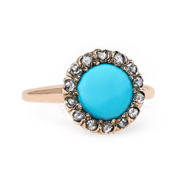 Striking Turquoise Ring with Diamond Halo | Striking Turquoise Ring with Diamond Halo | Robbinsville from Trumpet & Horn