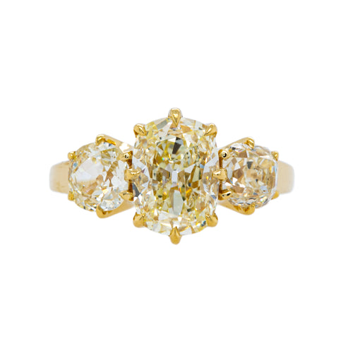 Magnificent Three-Stone Old Mine Cushion Diamond Ring | Rockford