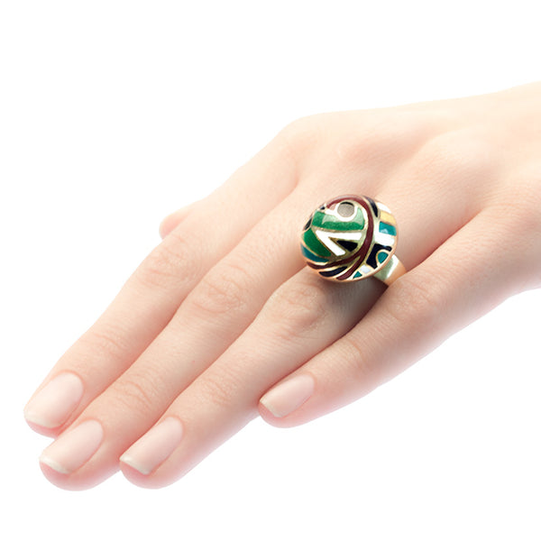 Rothbury mid-century vintage enamel cocktail ring from Trumpet & Horn