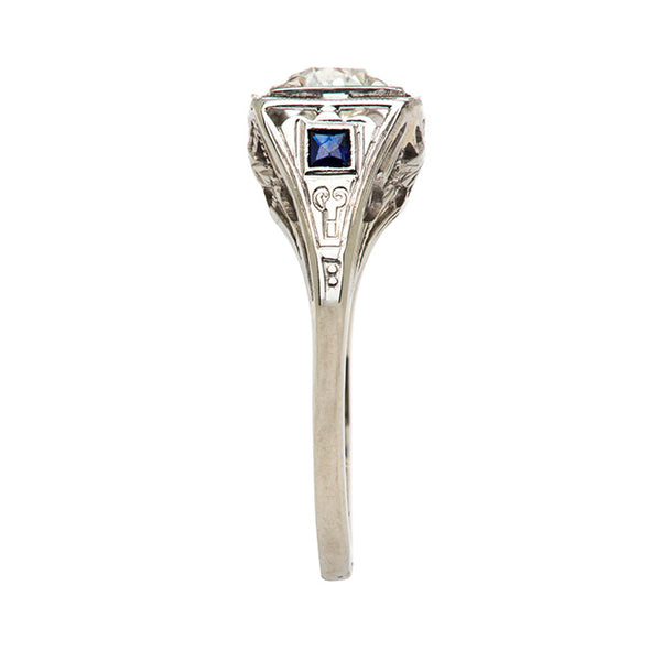 Vintage Antique Wedding Diamond and Sapphire Ring | Art Deco Diamond and Sapphire Engagement Ring