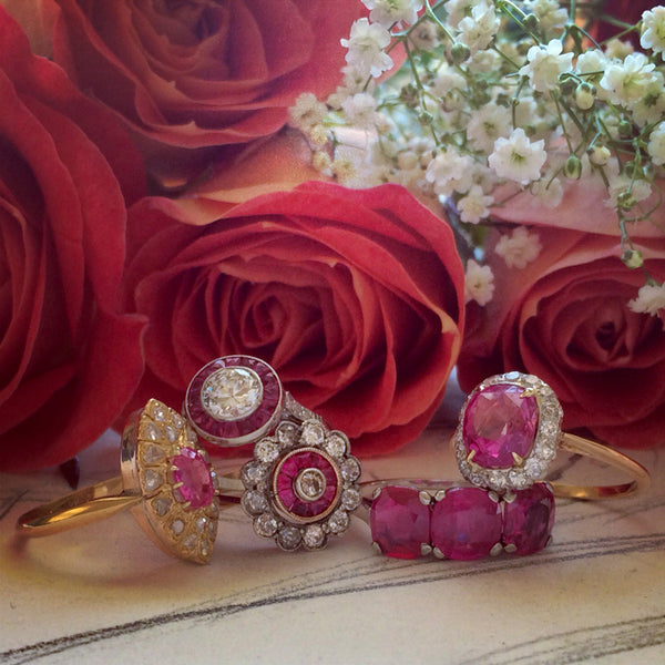 Vintage Inspired Ruby Halo Ring | Vintage Ruby Ring | Southport from Trumpet & Horn