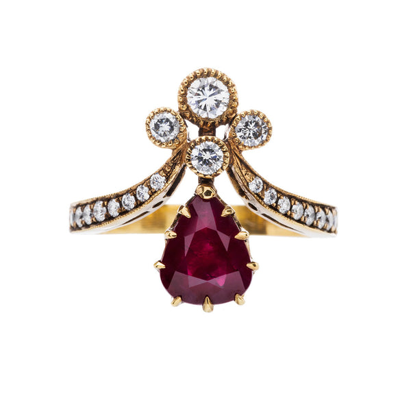 Ruby Tiara Ring | Vintage Inspired Victorian Engagement Ring