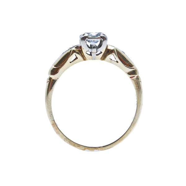 A Pretty Vintage Retro Era 14K Gold and Diamond Engagement Ring | Rushton