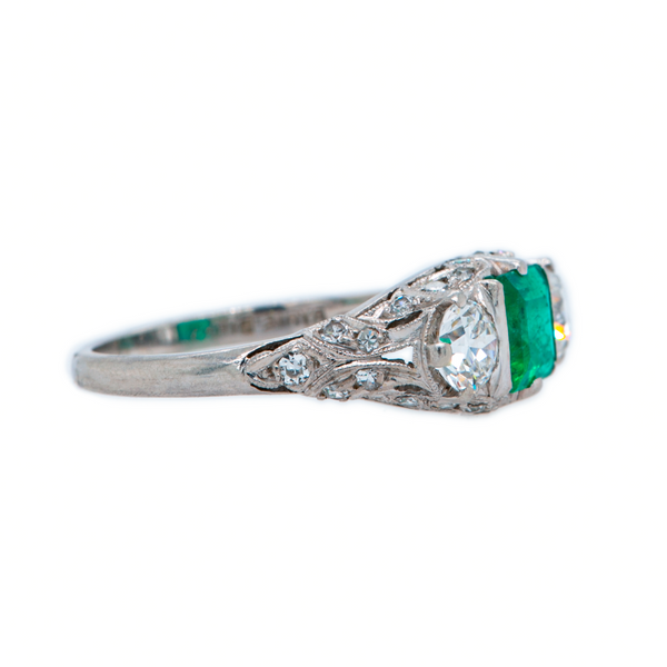 Gorgeous Green Emerald Art Deco Three-Stone Ring | Ryrie