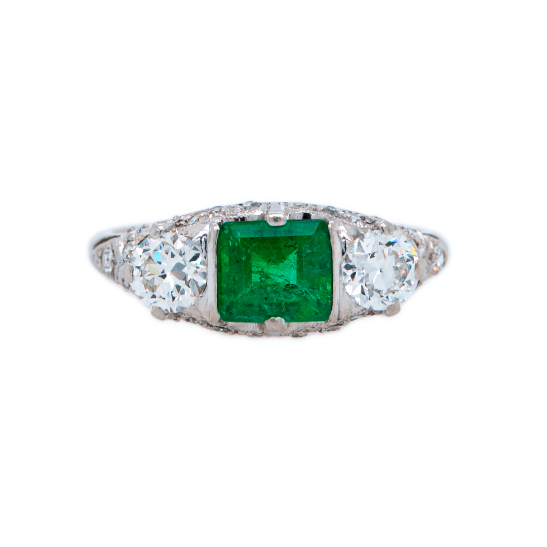 A stunning Art Deco era platinum emerald ring circa 1920 | Ryrie