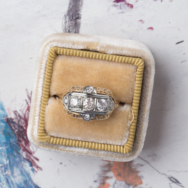 Late Art Deco Three Stone Ring | Sand Point from Trumpet & Horn