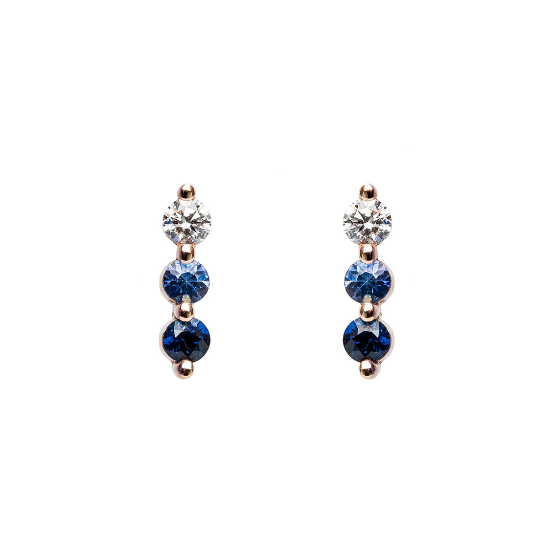 carat saphire sapphire gold white stud earrings bezel set blue