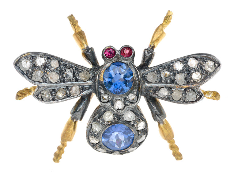 Sapphire & Diamond Insect Pin