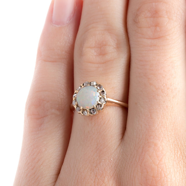 Victorian Era Rose Gold Opal Engagement Ring with Diamond Halo | Scofield from Trumpet & Horn