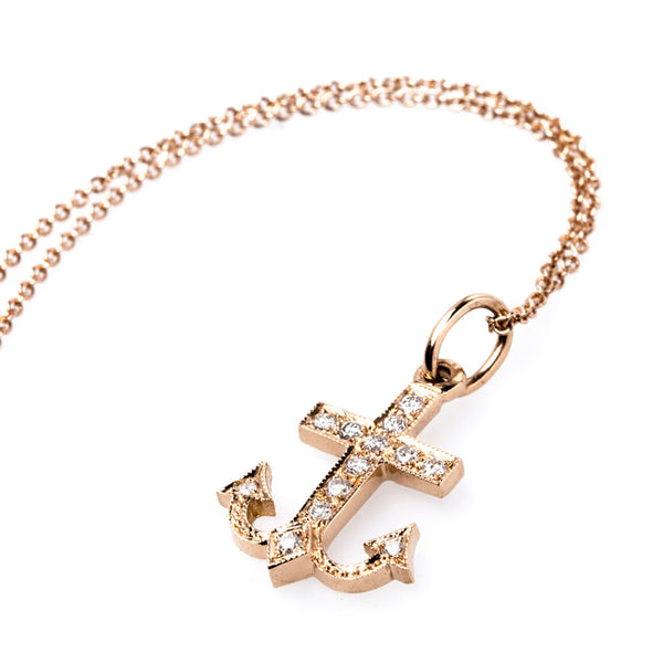 Vintage Inspired 18K Rose Gold Anchor Necklace | Seaside Necklace from Trumpet & Horn