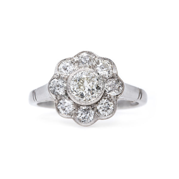 Delightful Platinum Halo Engagement Ring | Seaside Lane from Trumpet & Horn