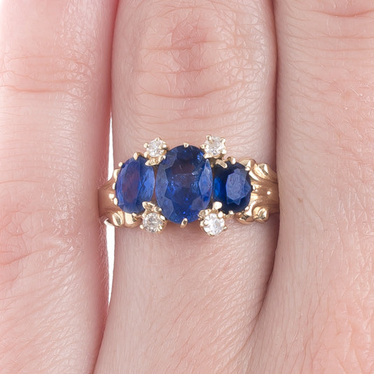 Art Nouveau Three Stone Sapphire Ring with Diamond Accents | Seaview from Trumpet & Horn