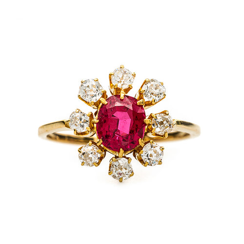 Vibrant Fiery Spinel with Old Mine Cut Diamond Halo | Seville from Trumpet & Horn