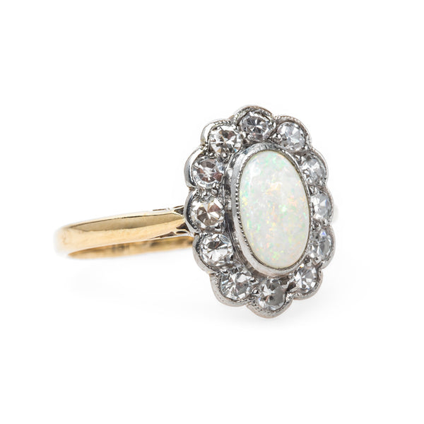 Victorian Era Engagement Ring with Dreamy Opal Center and Diamond Halo | Shady Lane from Trumpet & Horn