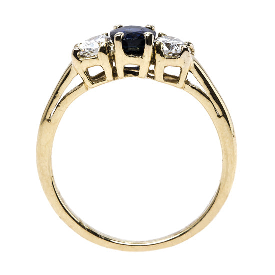 Timeless Three-Stone Engagement Ring with Sapphire Center | Shell Harbor from Trumpet & Horn