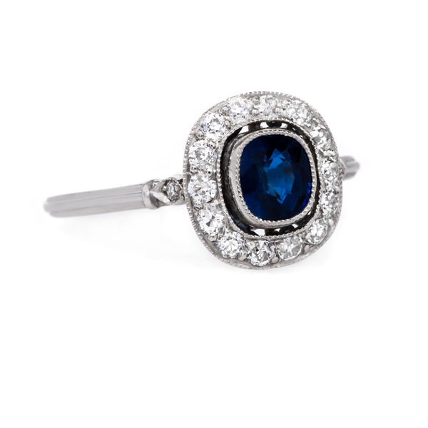 Magnificent Late Art Deco Cushion Cut Sapphire Ring | Shoreland from Trumpet & Horn