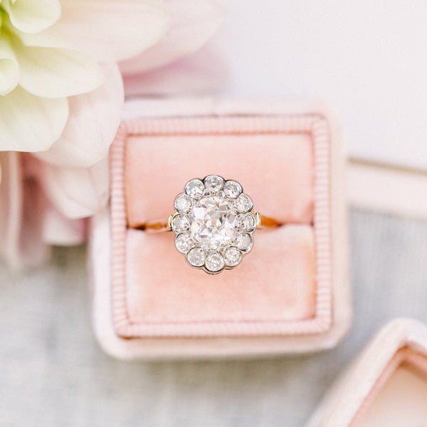 Vintage Diamond Halo Ring from Trumpet & Horn | Photo by Sarah Goss