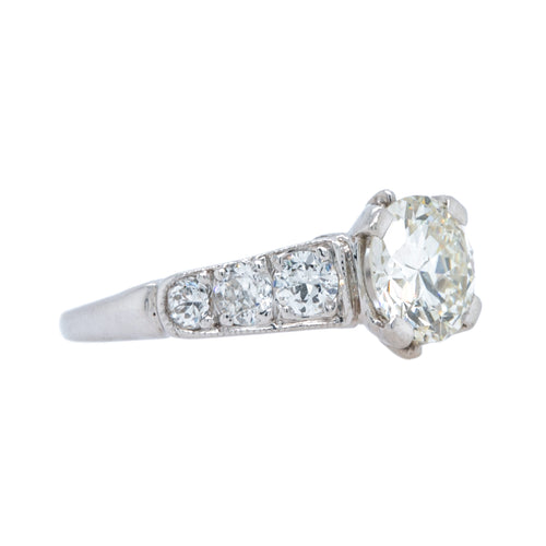 Fabulous Platinum Diamond Ring of Late Art Deco Era | Silver Springs