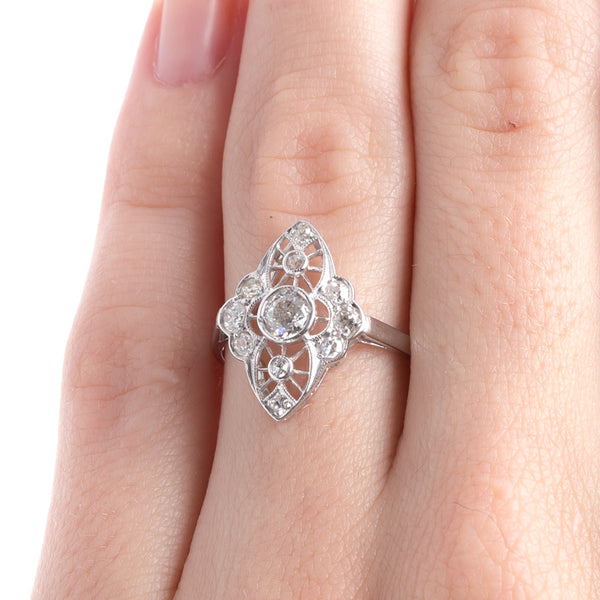 Timeless Edwardian Era Navette Style Engagement Ring with Old European Cut Diamonds | Silver City from Trumpet & Horn