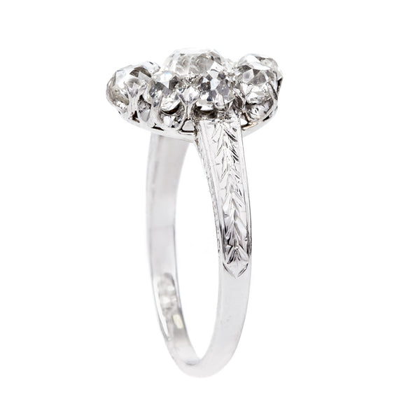 Antique Cluster Ring with Cushion Shaped Halo | Silver Gate from Trumpet & Horn