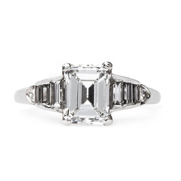 Incredible Late Art Deco Platinum Engagement Ring with Emerald Cut Diamond | Silverlake from Trumpet & Horn