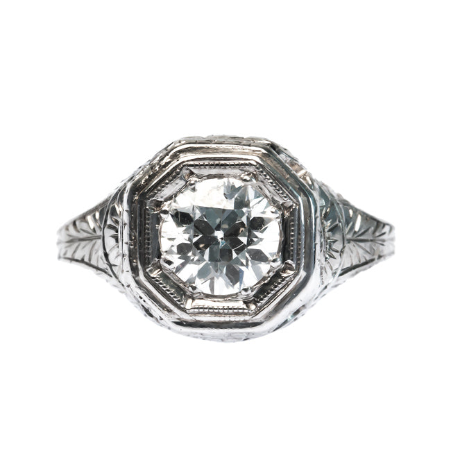 Silverton vintage Edwardian era Old European Cut diamond solitaire engagement ring from Trumpet & Horn