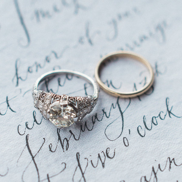 Gramercy Park Vintage Unique Diamond Engagement Ring from Trumpet & Horn | Photo by Simply Sarah