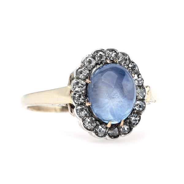 Dreamy Oval Cabochon Sapphire Engagement Ring with Diamond Halo | Skyridge from Trumpet & Horn