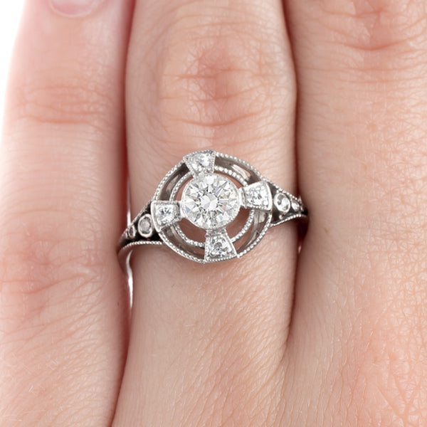 Exceptionally Unique Art Deco Halo Ring | Skyview from Trumpet & Horn