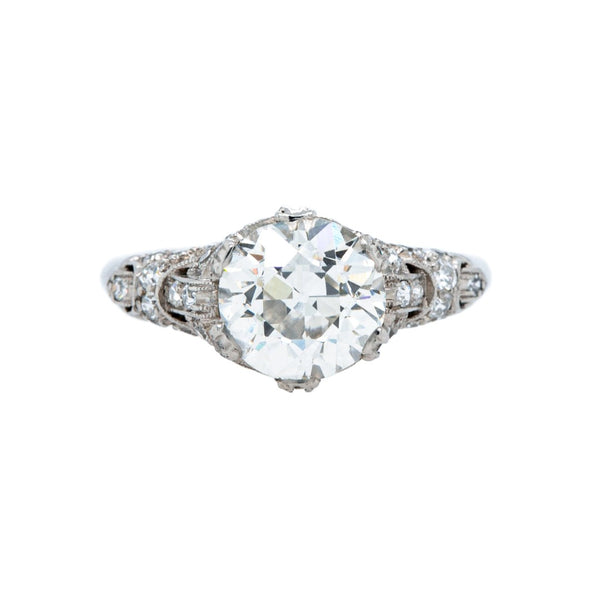 A Sensational Art Deco Platinum and EGL Certified 2.19cts Diamond Engagement Ring