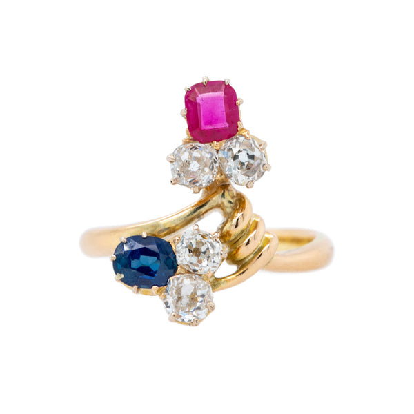 Whimsical Victorian Diamond, Sapphire, & Ruby Ring from Russia | Sochi