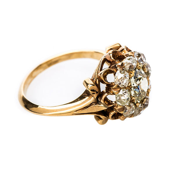 Fancy Yellow Diamond Ring with Old Mine Cut Diamond Halo | Southern Pines from Trumpet & Horn