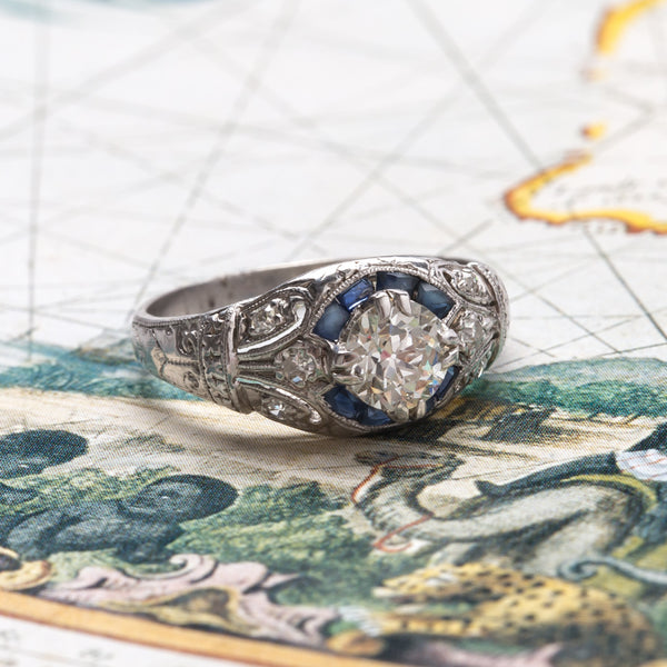 Spring Creek vintage Art Deco diamond and sapphire ring from Trumpet & Horn