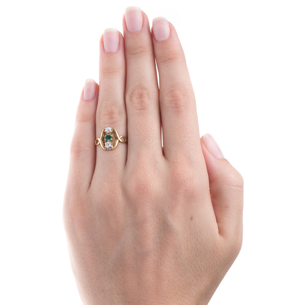 Whimsical Art Nouveau Emerald and Diamond Ring | Springwater from Trumpet & Horn