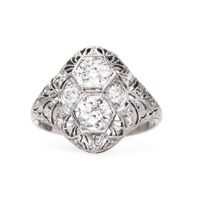 Edwardian Navette Platinum and Diamond Engagement Ring | Spyglass from Trumpet & Horn