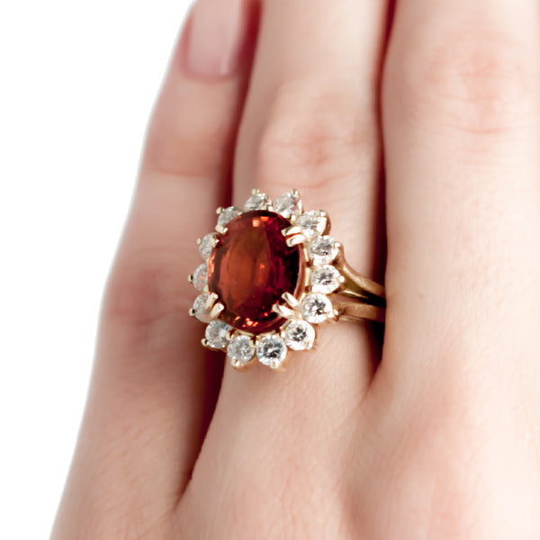 Orange Garnet 18K Yellow Gold and Diamond Cocktail Ring | Squaw Valley from Trumpet & Horn