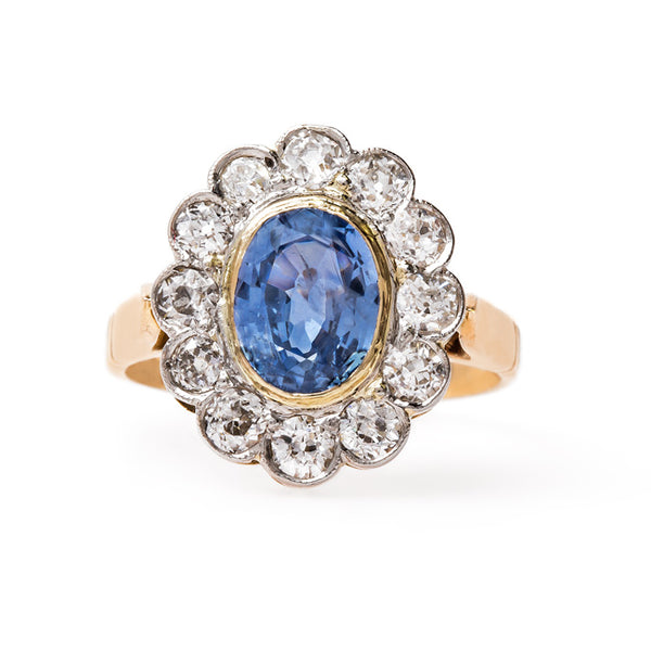 Glittering Sapphire Engagement Ring with Diamond Halo | Stafford from Trumpet & Horn