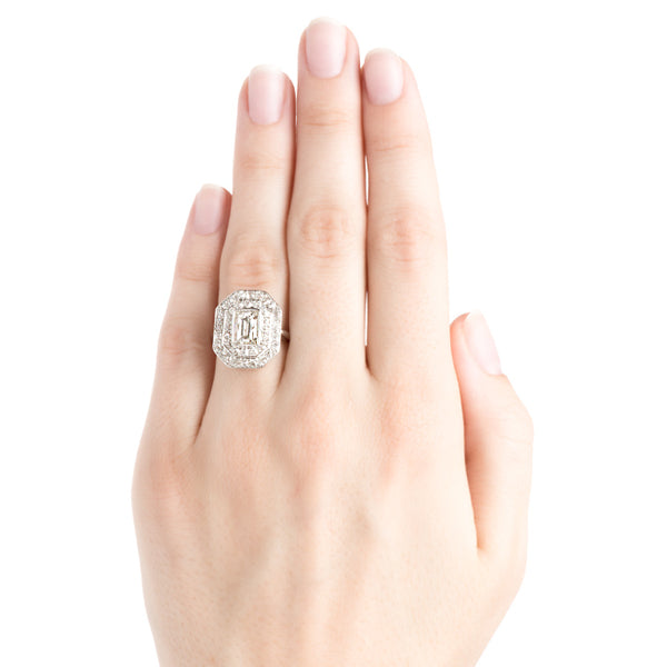 Vintage Diamond Halo Art Deco Engagement Ring