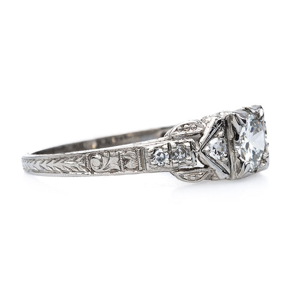 Highly Detailed Art Deco Ring with Hand Engraving | Star Pine from Trumpet & Horn
