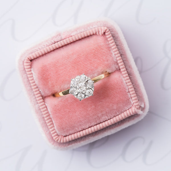 Feminine Star Shaped Diamond Cluster Ring | Star Point from Trumpet & Horn from Trumpet & Horn