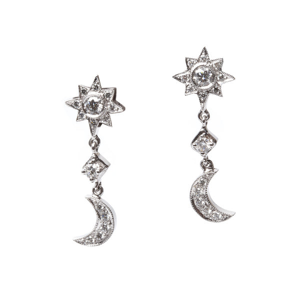 Vintage Inspired 18K White Gold Earrings with Diamond Star and Crescent | Starry Night Earrings from Trumpet & Horn