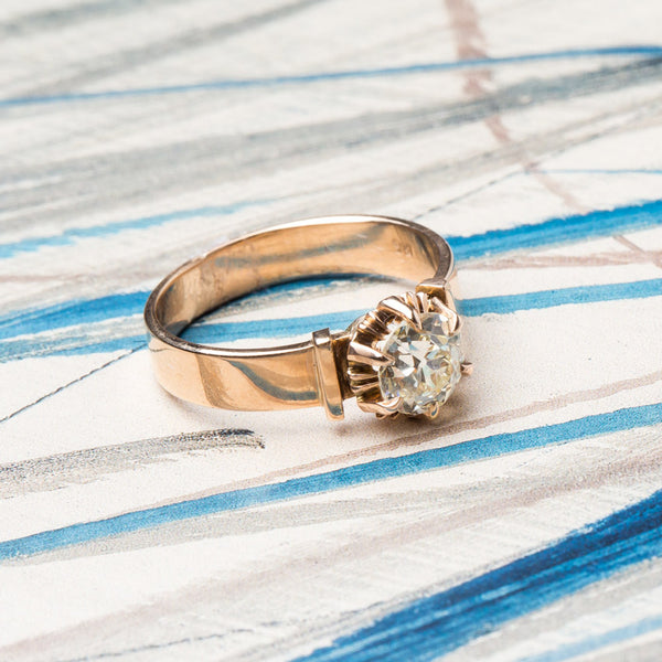 Charming Victorian Solitaire Ring with Warm Tone Diamond | St. Cloud from Trumpet & Horn