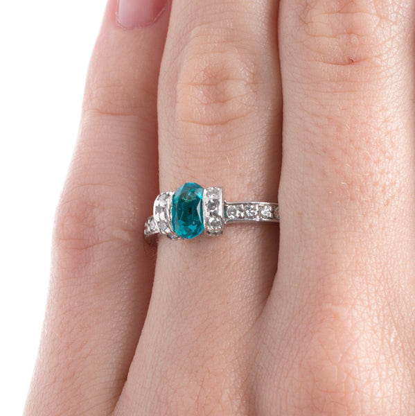 Unique Modern Era Tourmaline Platinum Engagement Ring | Steamboat Springs from Trumpet & Horn